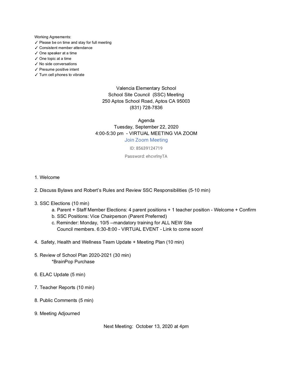 Site Council Agenda Sept 2020