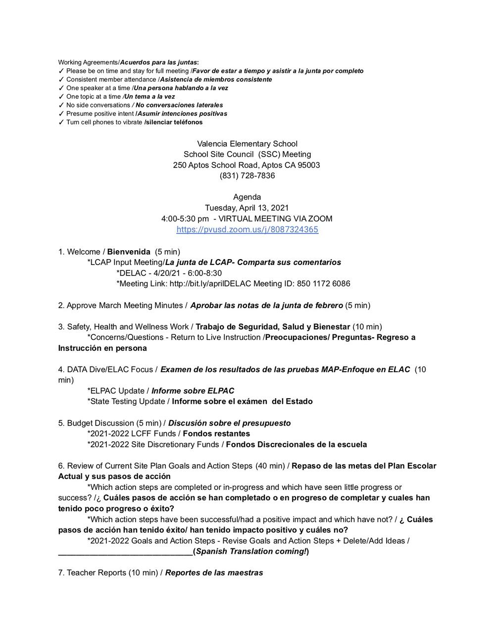 Site Council Agenda April 2021